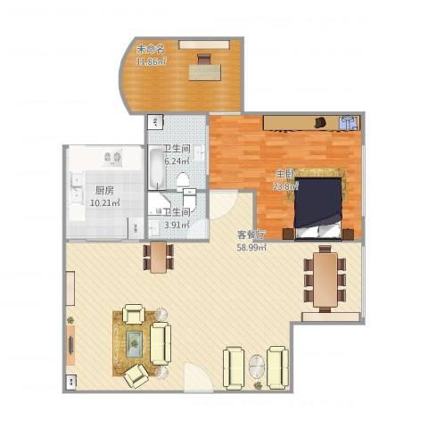鸿业大厦1室2厅2卫1厨152.00㎡户型图
