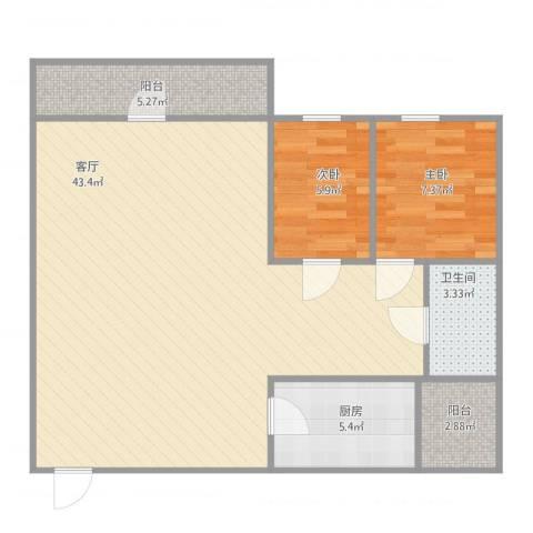 威斯广场峰景2室1厅1卫1厨78.89㎡户型图