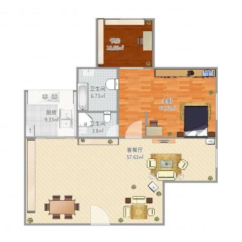 鸿业大厦2室2厅2卫1厨152.00㎡户型图