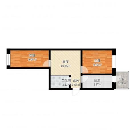 江畔方元2室2厅1卫1厨61.00㎡户型图