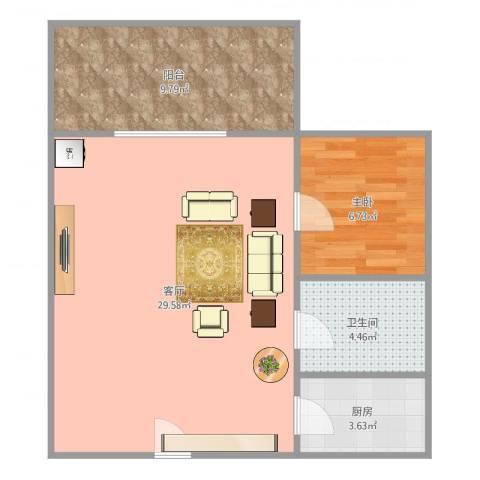 嘉仑台1室1厅1卫1厨58.00㎡户型图