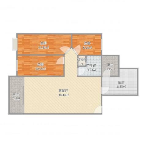 长江1号1期3室2厅1卫1厨105.00㎡户型图