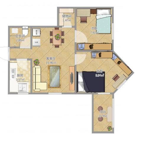 平乐园小区2室2厅1卫1厨60.00㎡户型图