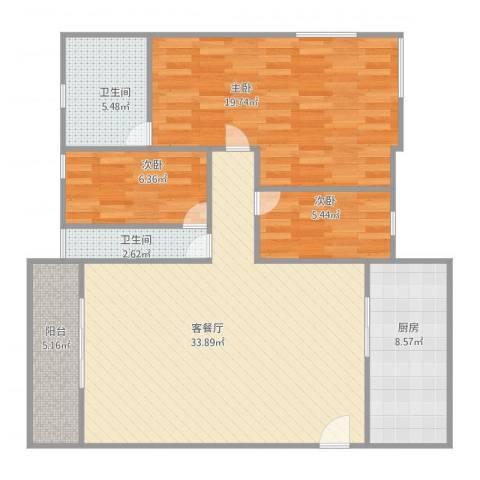 宏景楼3室2厅2卫1厨94.00㎡户型图