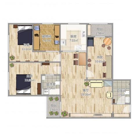 城市芳庭3室3厅1卫1厨115.00㎡户型图