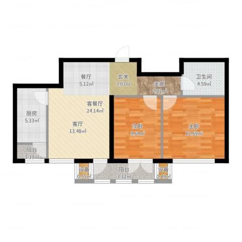 东丽1号2室2厅1卫1厨78.00㎡户型图