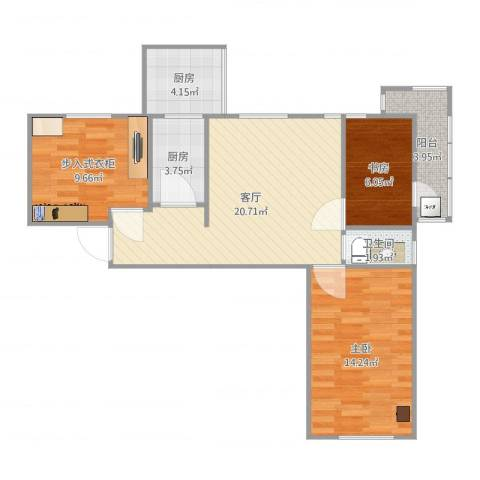 工体西里14012室1厅1卫2厨81.00㎡户型图