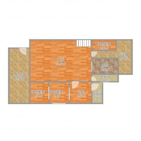 万科兰乔圣菲1室1厅2卫1厨88.66㎡户型图