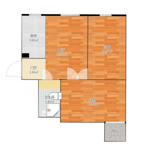 华龙苑南里2室1厅1卫1厨63.00㎡户型图