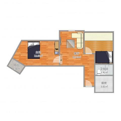 牡丹园东里1室1厅1卫1厨47.18㎡户型图