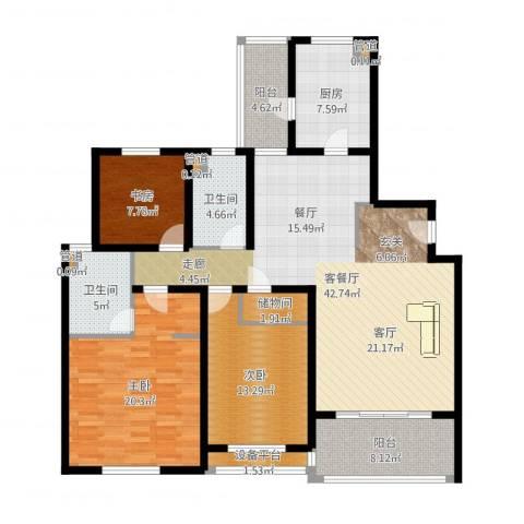 金湖湾花园3室2厅2卫1厨147.00㎡户型图
