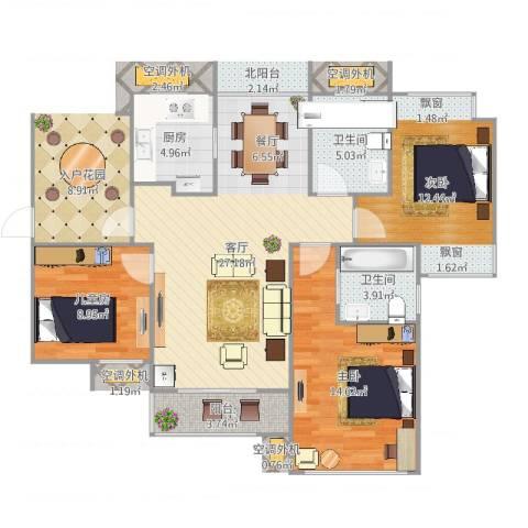 雅戈尔潇邦3室1厅2卫1厨101.00㎡户型图