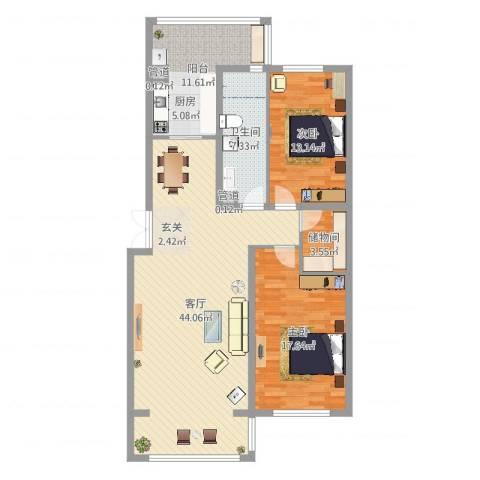 新新怡园二期2室1厅2卫1厨122.00㎡户型图