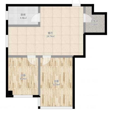 万丰・王子公寓2室1厅1卫1厨68.00㎡户型图