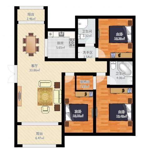 恒盛皇家花园3室1厅2卫1厨134.00㎡户型图
