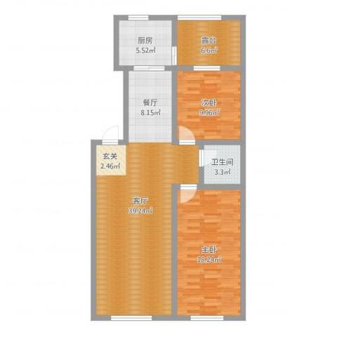 格林常青藤2室1厅1卫1厨104.00㎡户型图