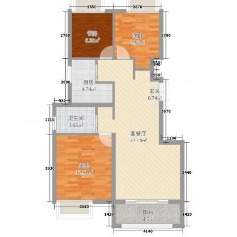 正德秋实园3室2厅1卫1厨95.00㎡户型图