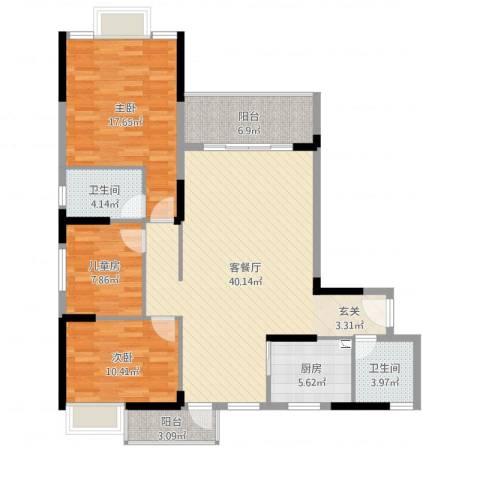 全顺・曼弄枫情3室2厅2卫1厨125.00㎡户型图
