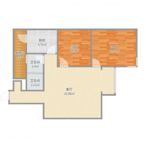 岳峰园2室1厅2卫1厨87.00㎡户型图