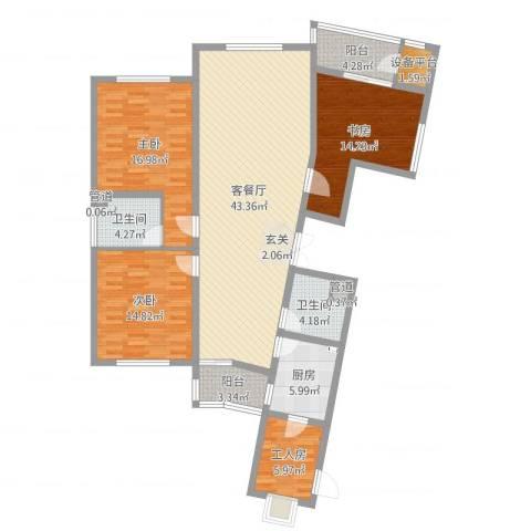 滨河湾城市花园3室2厅2卫1厨149.00㎡户型图