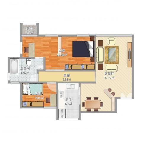华南碧桂园翠宏台2室2厅1卫1厨95.00㎡户型图
