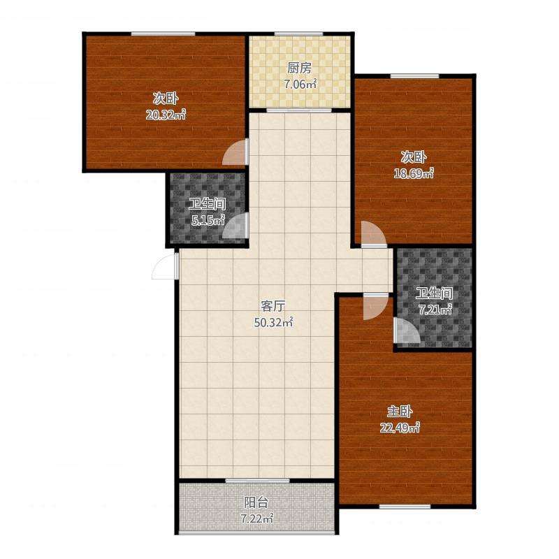 定兴-国际城-3号楼户型三室两厅两卫-125.99㎡