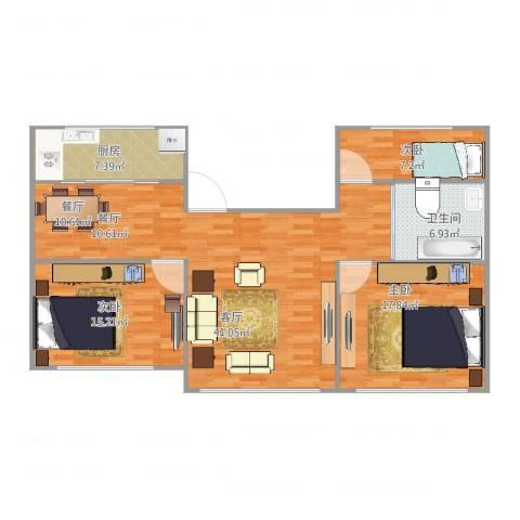 金钟小区3室1厅1卫1厨128.00㎡户型图