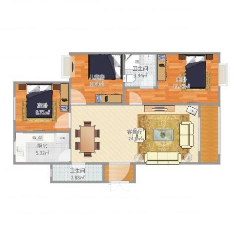 郁金蓝湾3室2厅2卫1厨88.00㎡户型图