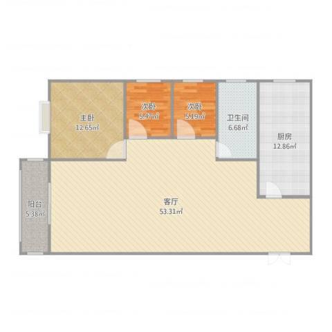 水木清华108㎡--3室3室1厅1卫1厨127.00㎡户型图
