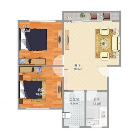东盛公寓2室1厅1卫1厨73.00㎡户型图