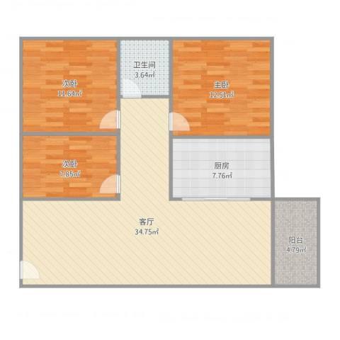 黄岐第一城3室1厅1卫1厨111.00㎡户型图
