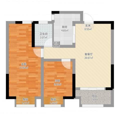 宝能城市广场2室2厅1卫1厨86.00㎡户型图