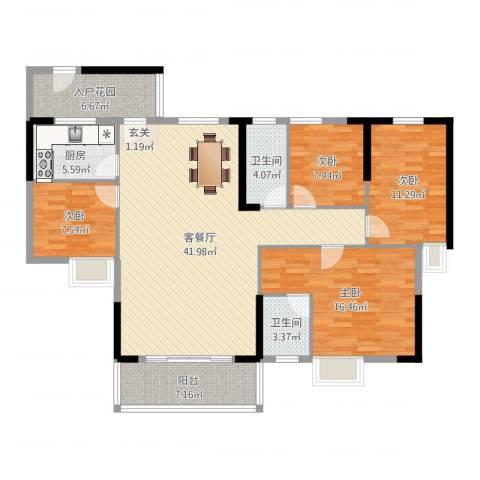 时代名苑4室2厅2卫1厨139.00㎡户型图