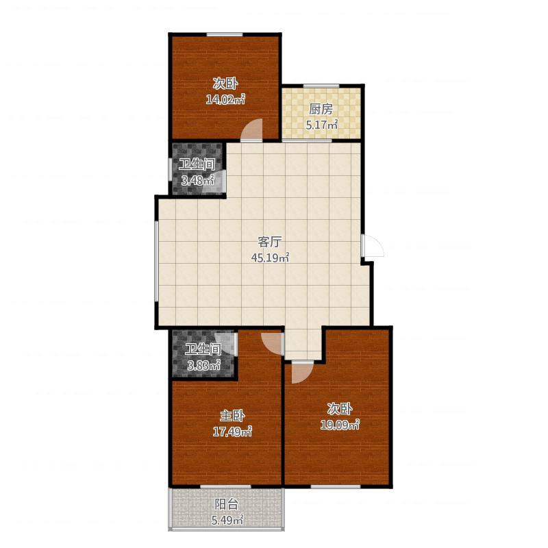 定兴-国际城-9号楼户型三室两厅两卫-120.75㎡
