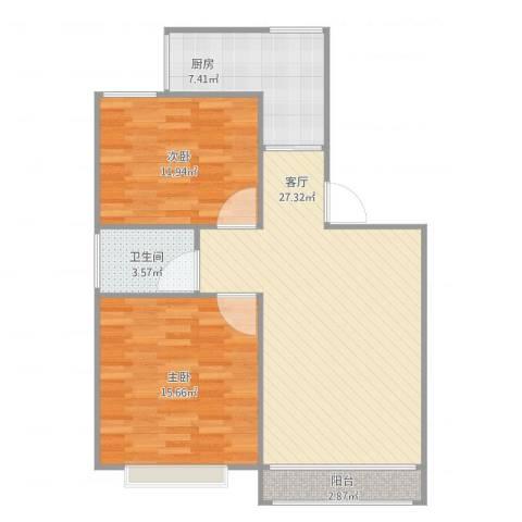 浦江世博家园九街坊2室1厅1卫1厨92.00㎡户型图