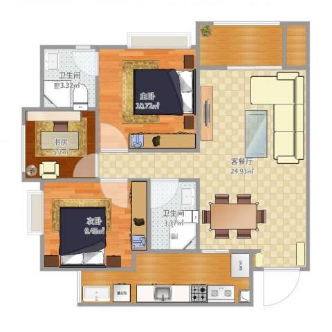 城南未来3室2厅4卫1厨87.00㎡户型图