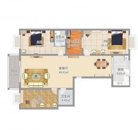 盂县法院宿舍1703室2厅2卫1厨130.86㎡户型图