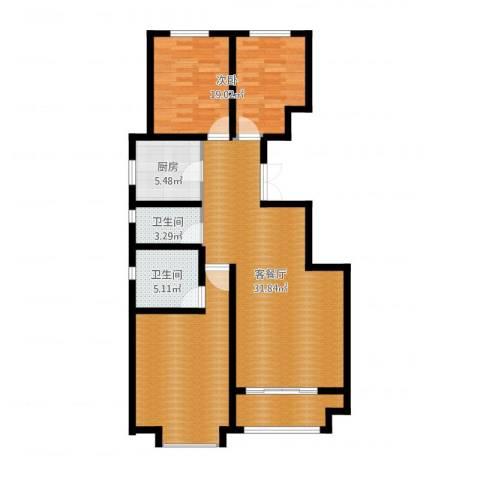 富立秦皇半岛2室2厅2卫1厨109.00㎡户型图