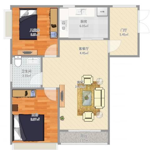 大竹林商业中心2室1厅1卫1厨70.00㎡户型图