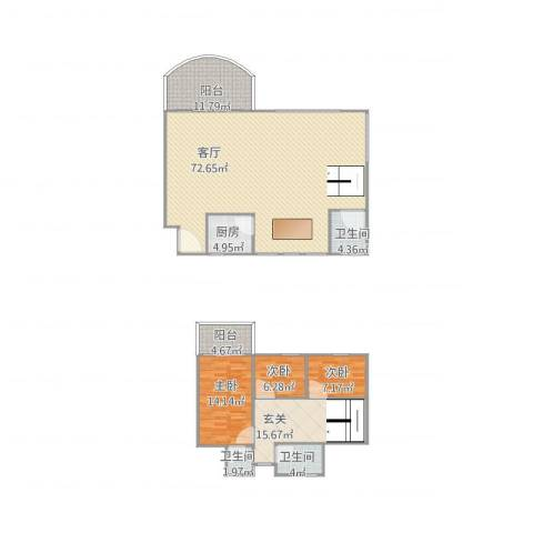 黄岐第一城3室1厅3卫1厨196.00㎡户型图