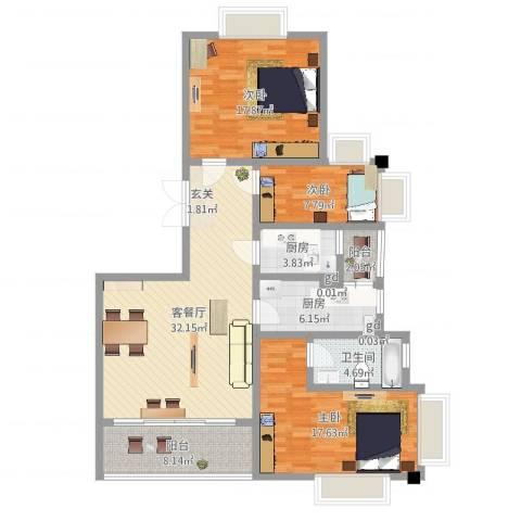 御沁园公寓3室2厅1卫2厨125.00㎡户型图