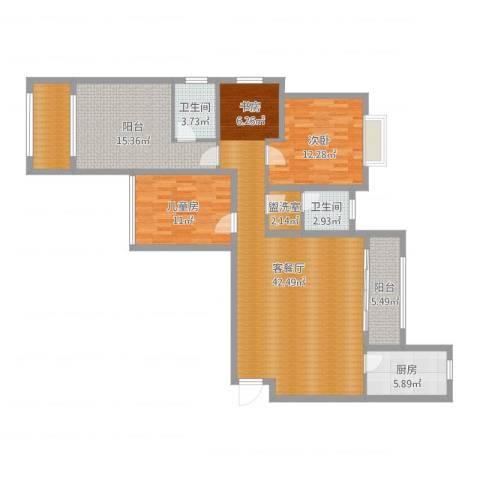 沭阳大唐世家2-2-502室2厅2卫1厨133.00㎡户型图
