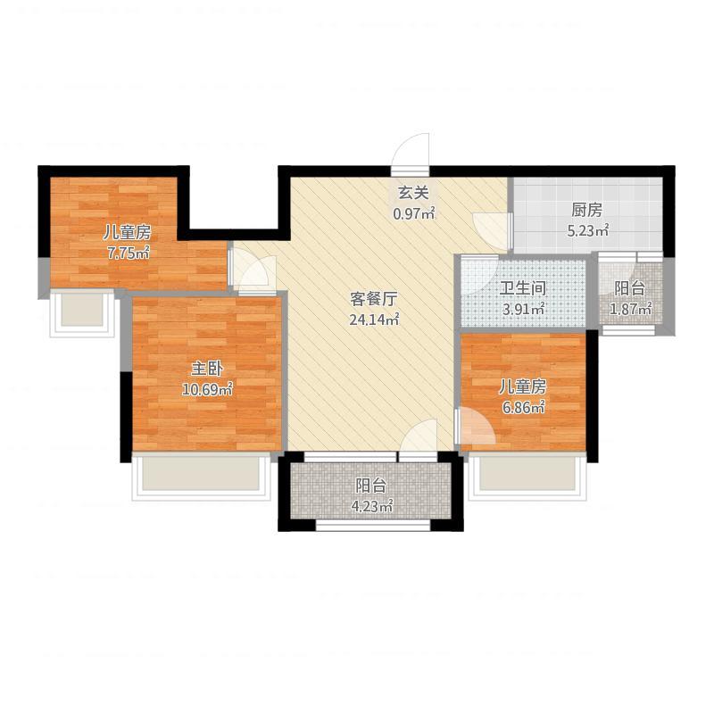 碧桂园J550三房两厅一卫91平