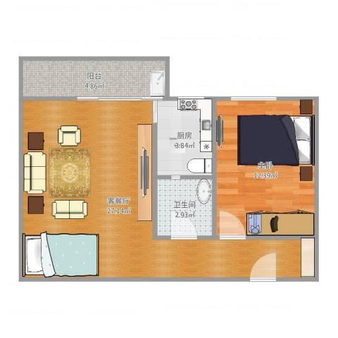 惠祥花园1室2厅1卫1厨64.00㎡户型图