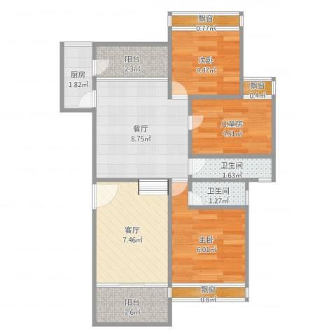 景湖春天37栋D梯1013室2厅2卫1厨61.00㎡户型图