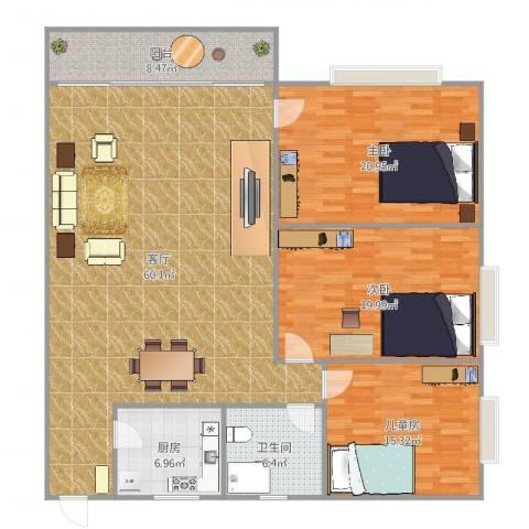 东山华庭97平方3室1厅1卫1厨173.00㎡户型图