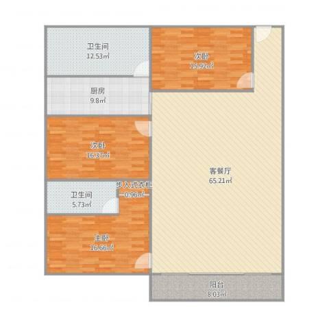 碧翠豪城38栋3室2厅2卫1厨200.00㎡户型图