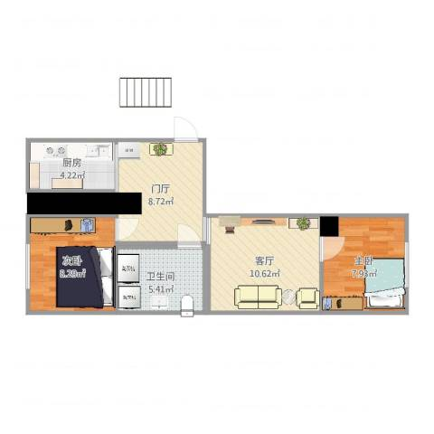 温商小区2室1厅1卫1厨56.00㎡户型图