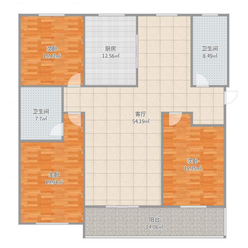 定兴-国际城-3号楼户型三室两厅两卫-134.28㎡