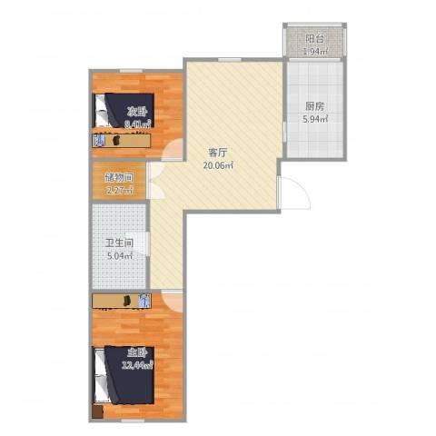 五一家园2室1厅1卫1厨70.00㎡户型图